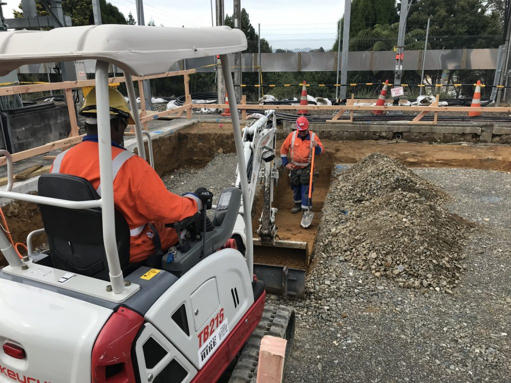 Installing the ducts for the 11 kilovolt (11kV) cables that feed Otorohanga and surrounds