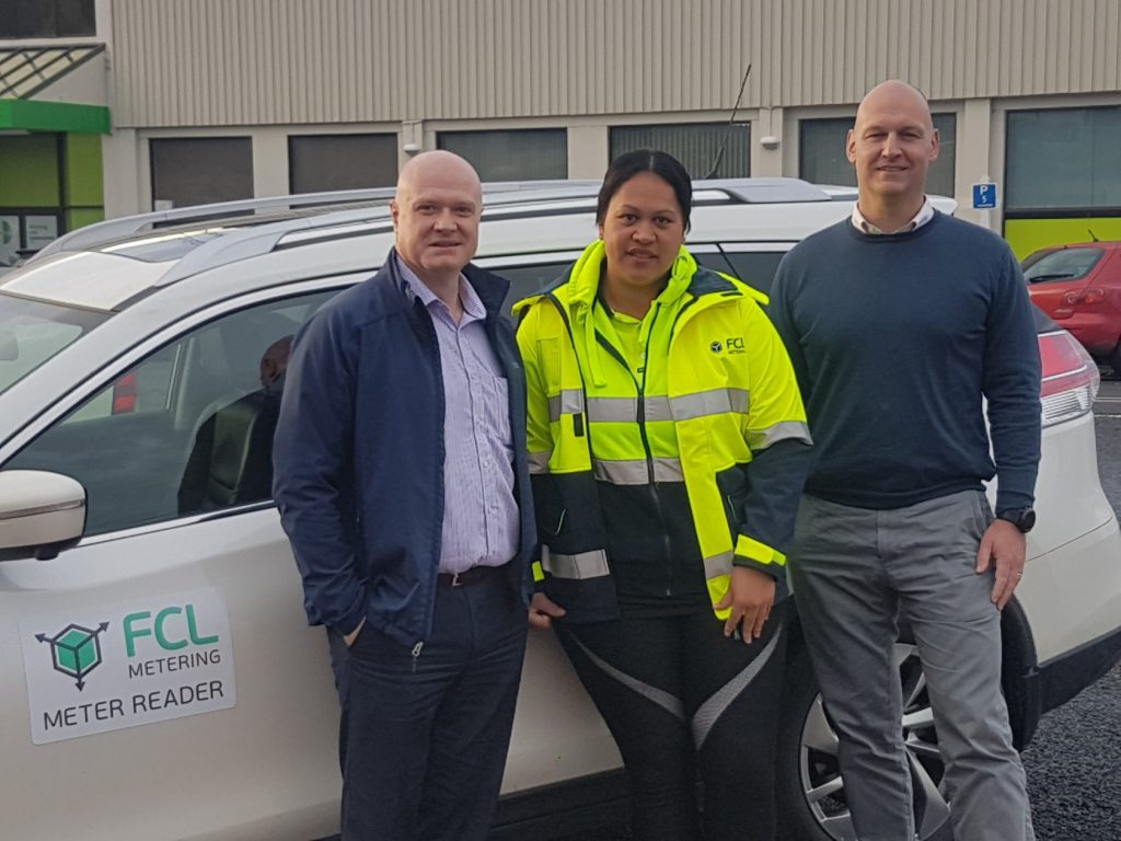 FCL Metering's Dave Kitchen (left) and TLC chief executive Sean Horgan welcome Lace McCool to the FCLM team.
