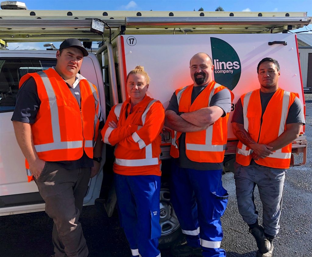 (left to right) TLC's 2018 line mechanic trainees Hamish Reynolds, Sarah Nepia, Derek Hardisty and Jesse Bidois on their first day on the job.