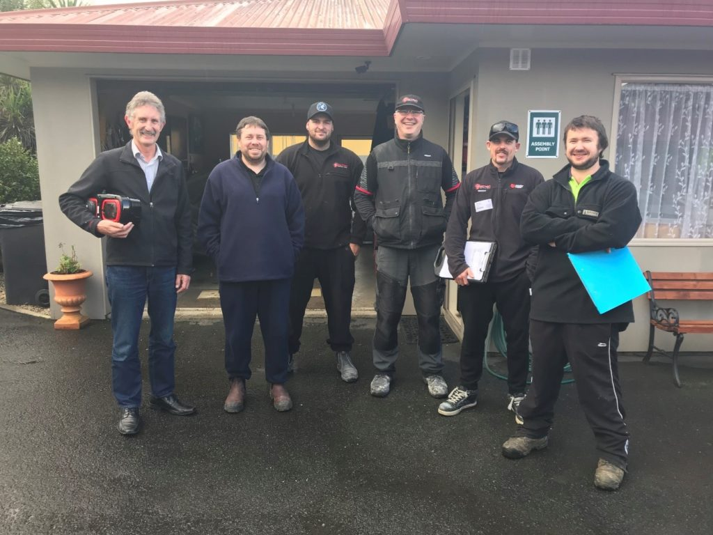 Local service providers to install EV chargers at accommodation and tourism businesses network wide.  Full list of names (left to right): Mark Wilson, Head of Engineering – GoodMeasure  James Hughes – Central Sparkies Mitchell Knight – Action Electrical Danny McLaughlin – Action Electrical Brent Piper – Action Electrical Glenn Scheyvens – Central Sparkies