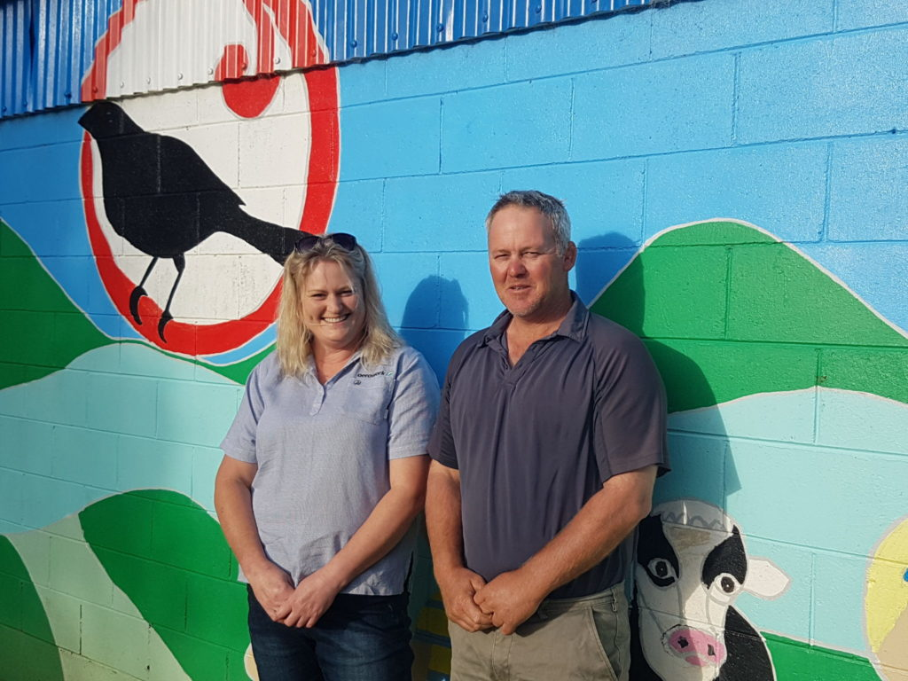 Piopio Community Swimming Pool Charitable Trust Committee, Shaun Carter (right) and Kimberley Cody are delighted with The Lines Company's ongoing financial support of this vital community asset.