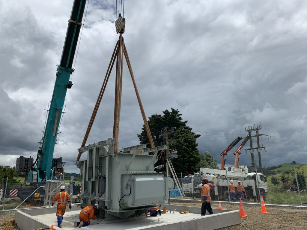 The new transformer being positioned at Hangatiki in December.