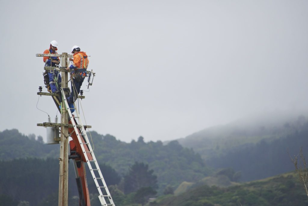 A TLC lines crew carrying out line renewal work similar to that planned for Owhango from July