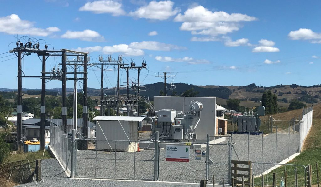 TLC's Te Waireka substation with the current switch room at front right. The new switch room will be located at front right.