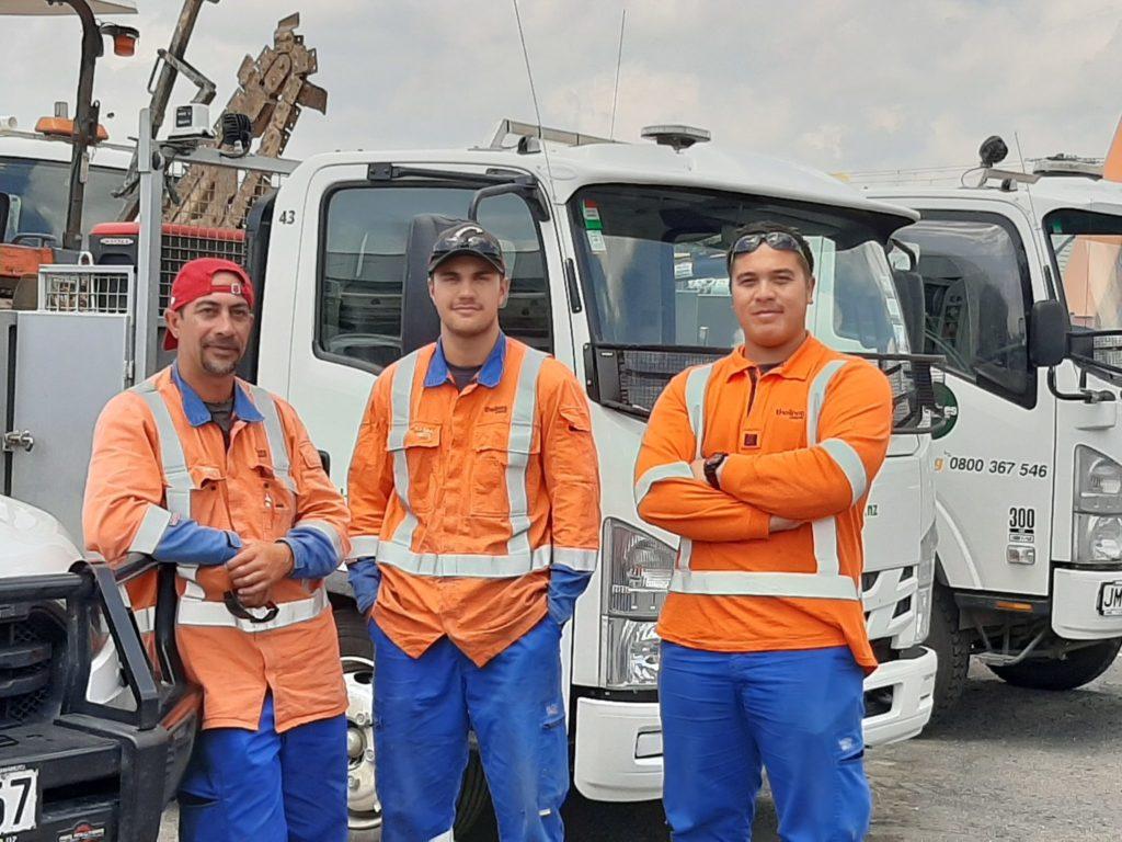 TLC's 2019 trainee line mechanics (left to right) Thomas Wana, Brayden Crown and Tallis Karaitiana