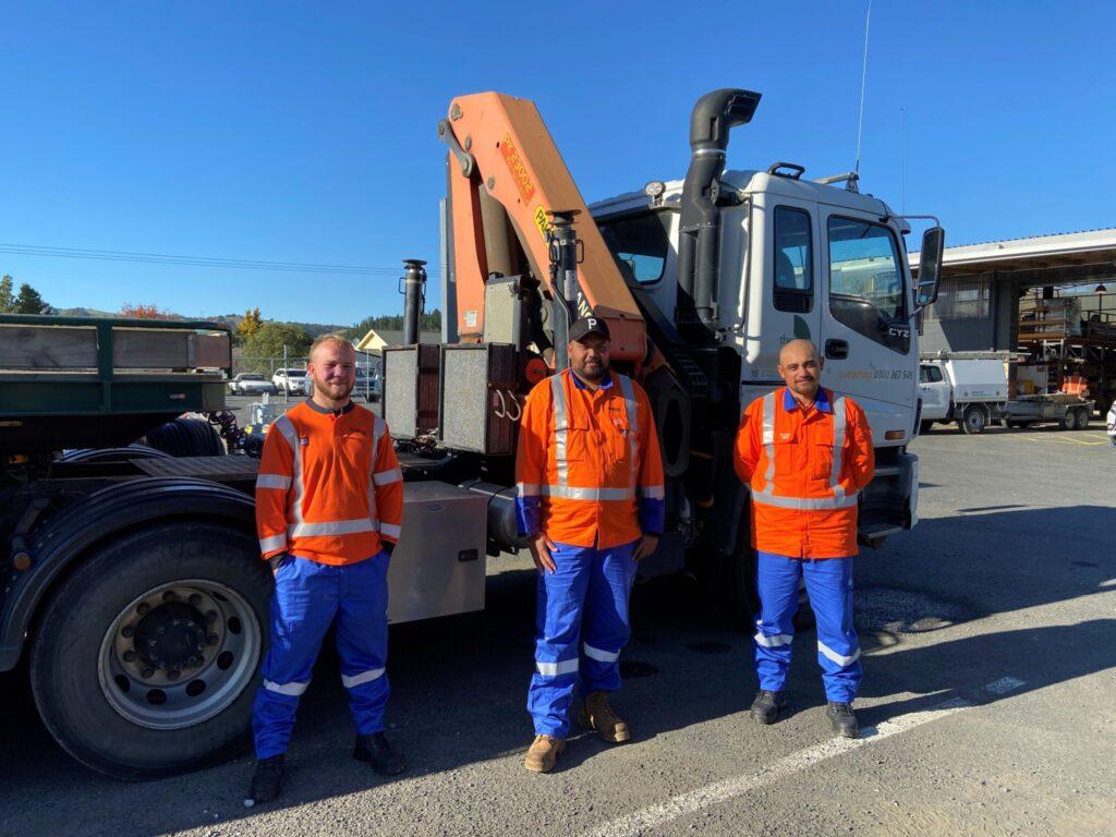 Trainee line mechanics (L – R)  Gareth Owen, Wiremu Te Tawhero and Coban Tamiti