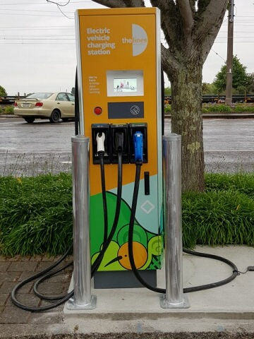 The new fast-charger located on Bell Lane, Ōtorohanga.